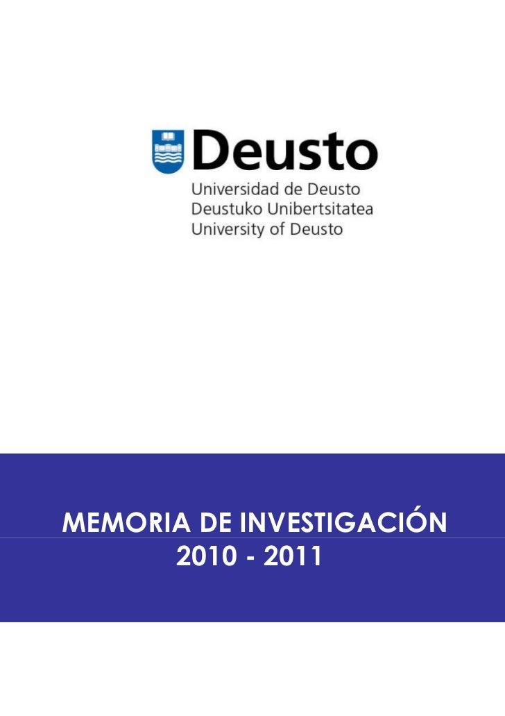 MEMORIA DE INVESTIGACIÓN      2010 - 2011