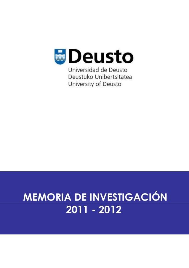 MEMORIAMEMORIA DE INVESTIGACIÓN2011 - 2012