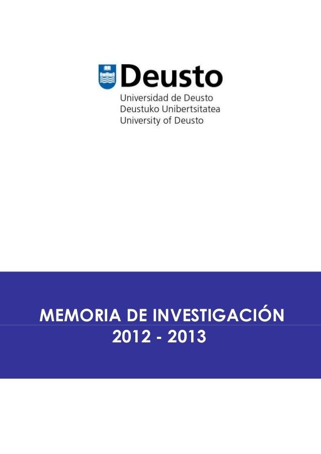 MEMORIA DE INVESTIGACIÓN 2012 - 2013