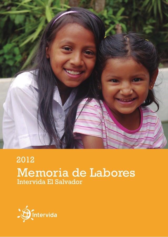 Memoria de Labores 2012 Intervida El Salvador