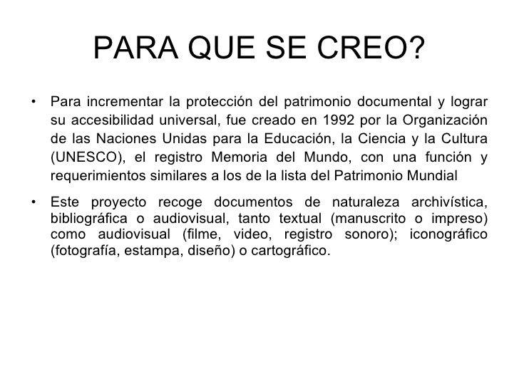 Unesco memoria del mundo for Cuando se creo la arquitectura