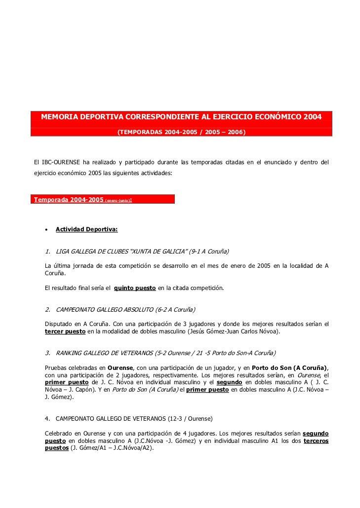 MEMORIA DEPORTIVA CORRESPONDIENTE AL EJERCICIO ECONÓMICO 2004                               (TEMPORADAS 2004-2005 / 2005 –...