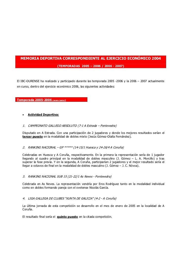 MEMORIA DEPORTIVA CORRESPONDIENTE AL EJERCICIO ECONÓMICO 2004                              (TEMPORADAS 2005 – 2006 / 2006 ...