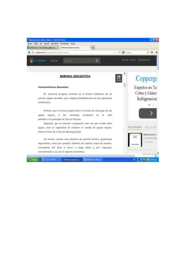 IEIORIA DQCRIPTIVA  Características Galinha:   E!  presents proyecto consxstc cn c!  drserío hxdrauüco d: : un colector ag...