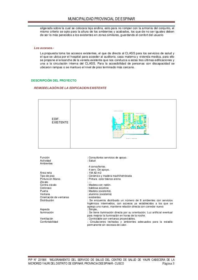 """MUNICIPALIDAD PROVINCIAL DE ESPINAR PIP N° 231566 """"MEJORAMIENTO DEL SERVICIO DE SALUD DEL CENTRO DE SALUD DE YAURI CABECER..."""