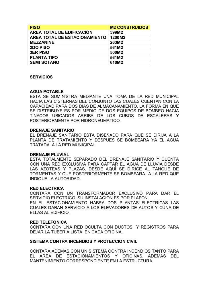 PISO                            M2 CONSTRUIDOSAREA TOTAL DE EDIFICACIÓN       599M2AREA TOTAL DE ESTACIONAMIENTO   1200M2M...