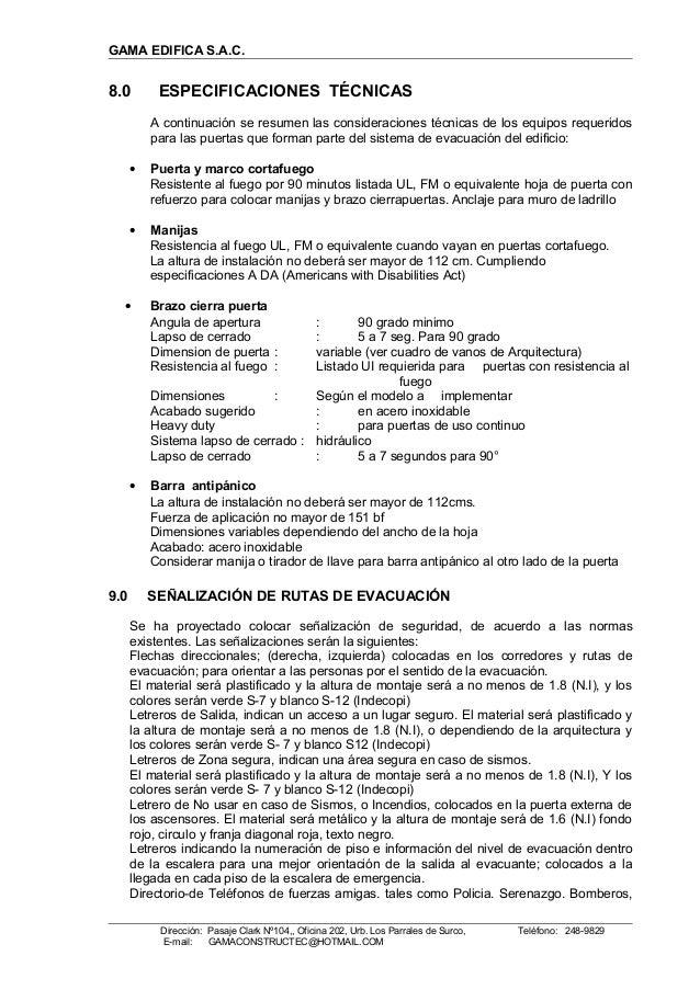 GAMA EDIFICA S.A.C. 8.0 ESPECIFICACIONES TÉCNICAS A continuación se resumen las consideraciones técnicas de los equipos re...