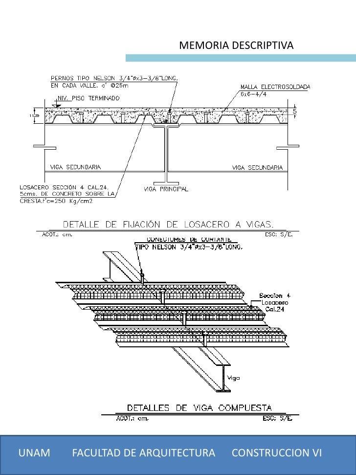 MEMORIA DESCRIPTIVAUNAM   FACULTAD DE ARQUITECTURA   CONSTRUCCION VI