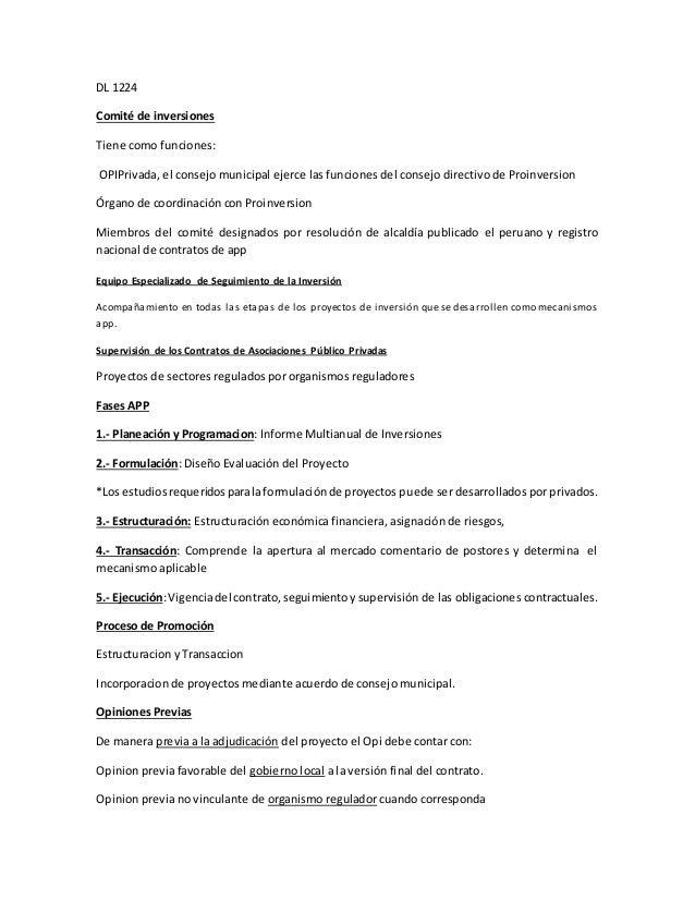 DL 1224 Comité de inversiones Tiene como funciones: OPIPrivada, el consejo municipal ejerce las funciones del consejo dire...