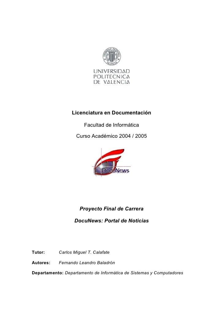 Proyecto Final de Carrera. Portal de Noticias con RSS (Año 2005)