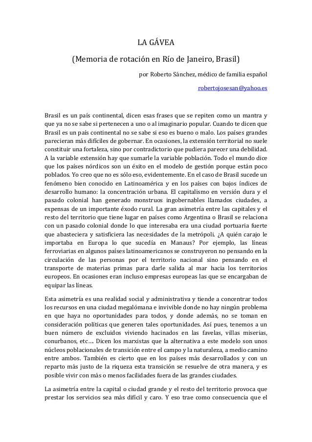 LA GÁVEA (Memoria de rotación en Río de Janeiro, Brasil) por Roberto Sánchez, médico de familia español robertojosesan@yah...