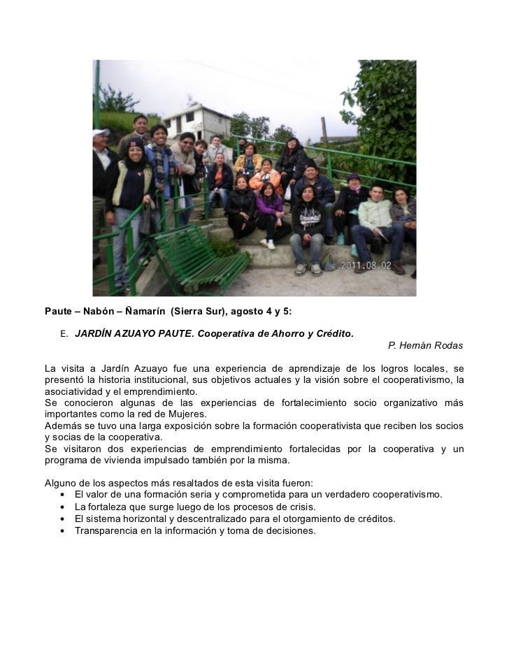 Memoria encuentro de econom a solidaria y finanzas for Jardin azuayo