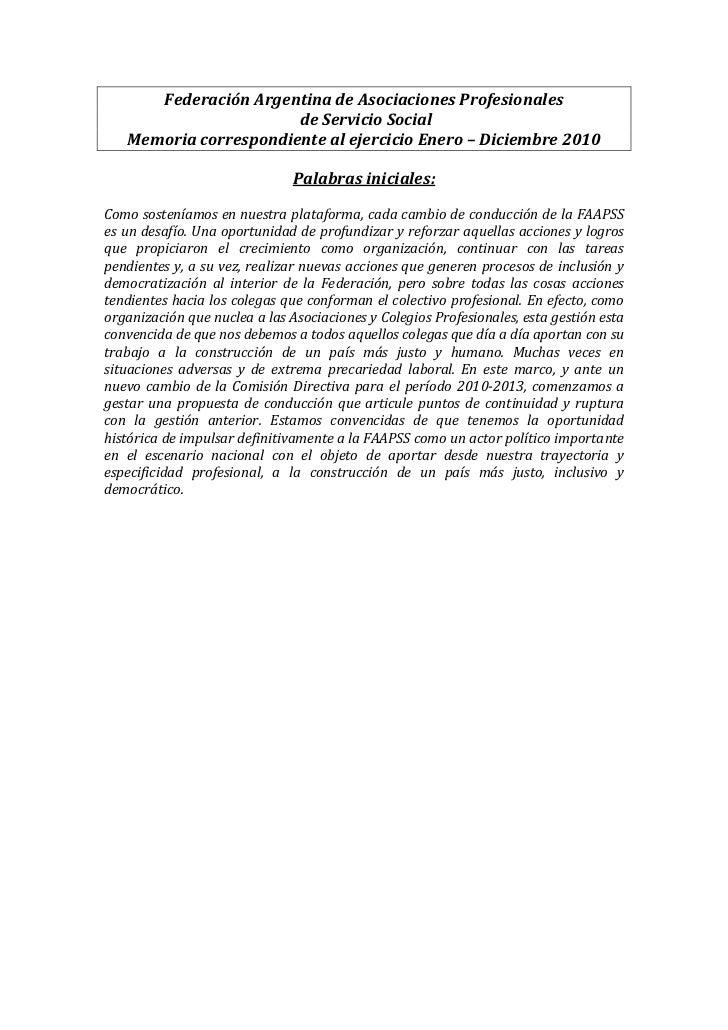 Federación Argentina de Asociaciones Profesionales                       de Servicio Social   Memoria correspondiente al e...