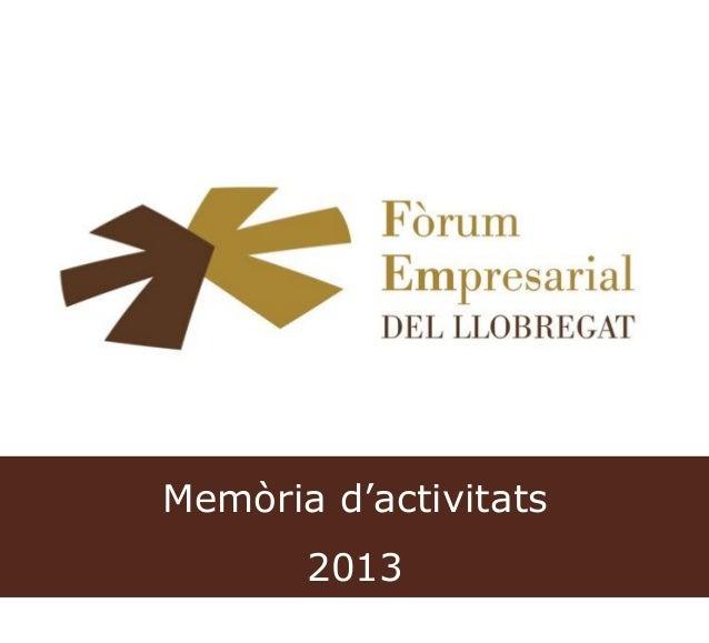 Memòria d'activitats 2013