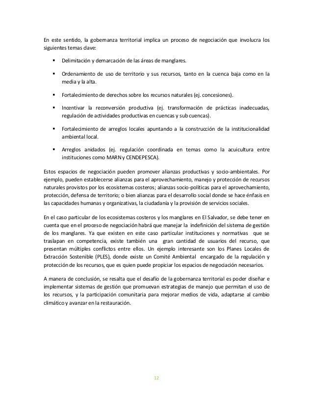 12En este sentido, la gobernanza territorial implica un proceso de negociación que involucra lossiguientes temas clave: D...