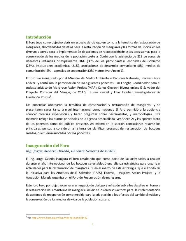 2IntroducciónEl foro tuvo como objetivo abrir un espacio de diálogo en torno a la temática de restauración demanglares, ab...