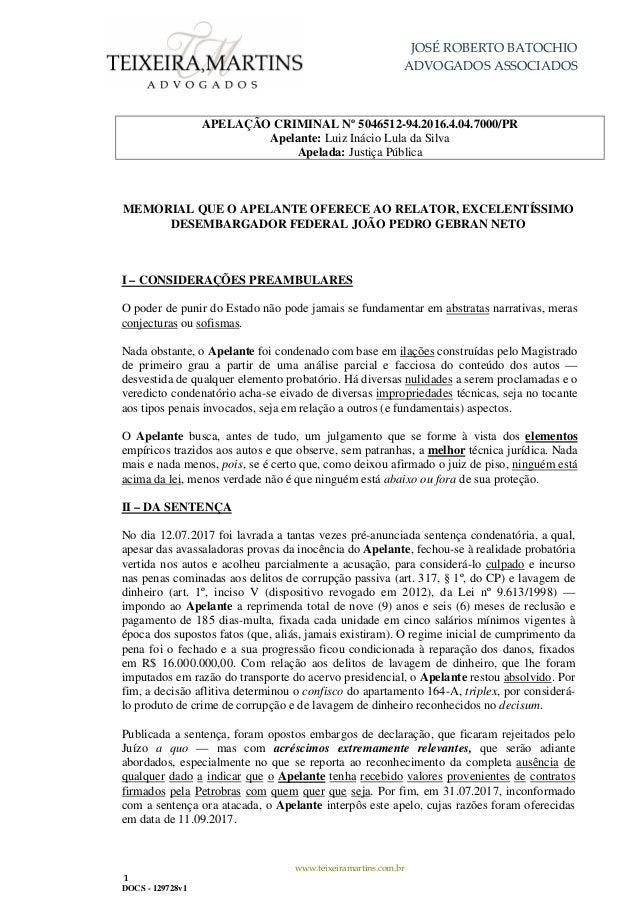 JOSÉ ROBERTO BATOCHIO ADVOGADOS ASSOCIADOS www.teixeiramartins.com.br 1 DOCS - 129728v1 APELAÇÃO CRIMINAL Nº 5046512-94.20...