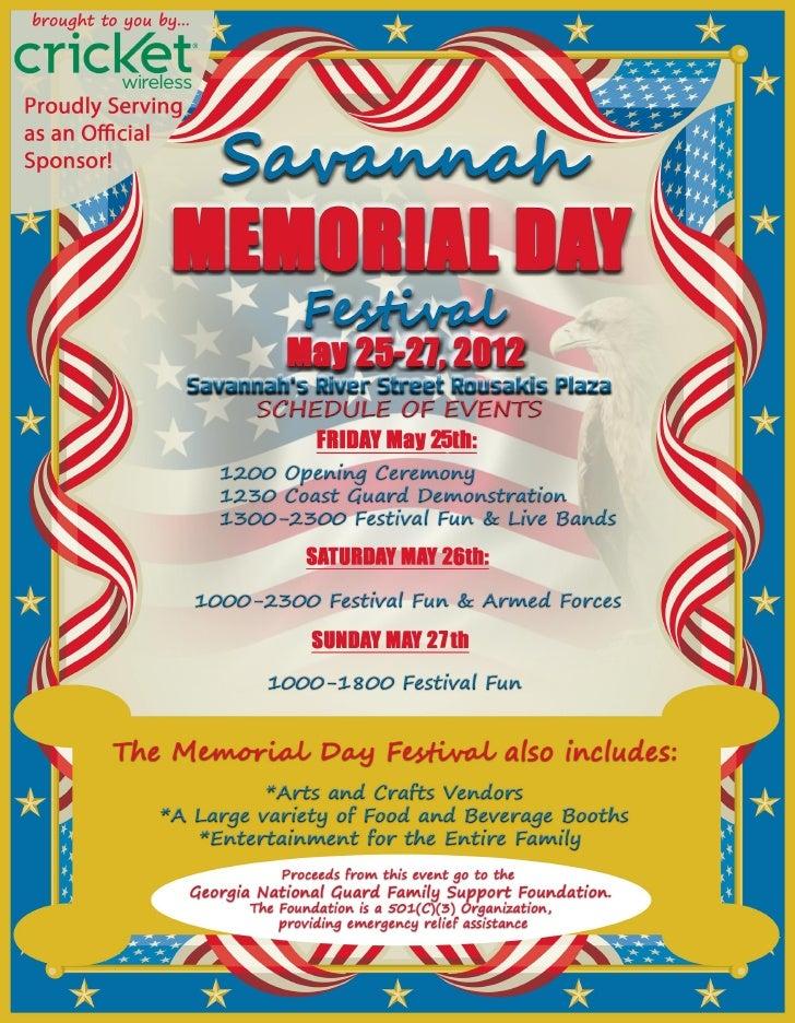 May 25-27th-12th Annual Savannah Memorial Day Festival at River Street!
