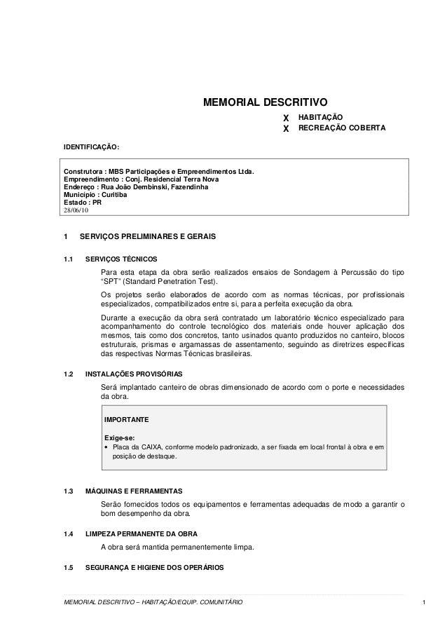 Memorial Descritivo Modelo Redação November 2019 Serviço