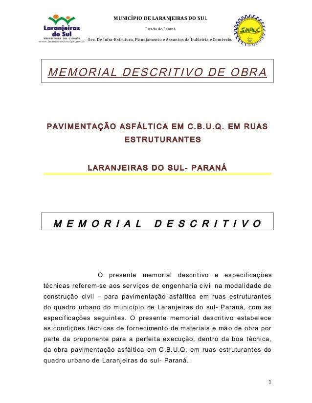 Memorial Descritivo Pavimentação Asfáltica Em Ruas