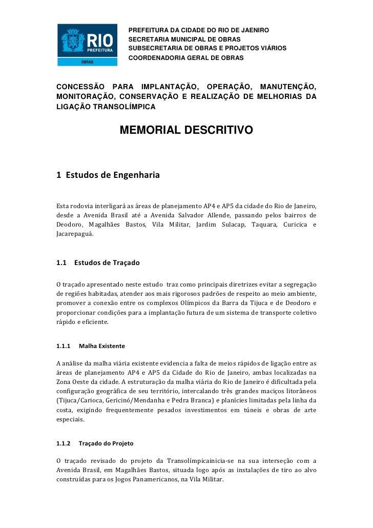 PREFEITURA DA CIDADE DO RIO DE JAENIRO                          SECRETARIA MUNICIPAL DE OBRAS                          SUB...