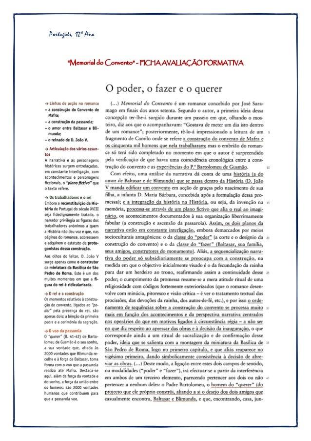 """Português, 12º Ano """"Memorial do Convento"""" - FICHA AVALIAÇÃO FORMATIVA"""