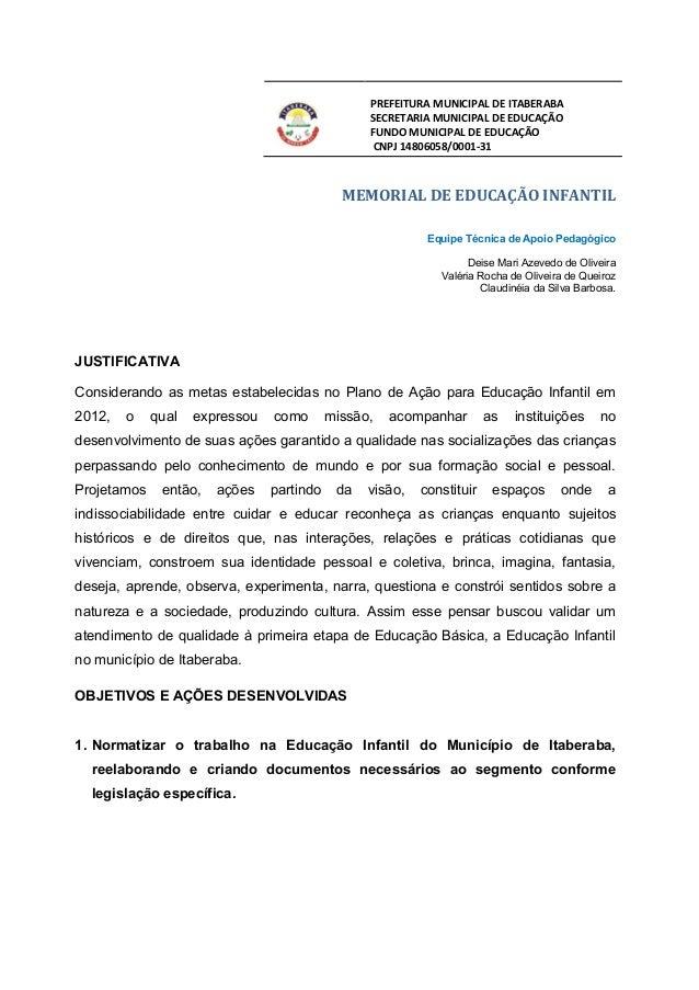 PREFEITURA MUNICIPAL DE ITABERABA                                                 SECRETARIA MUNICIPAL DE EDUCAÇÃO        ...