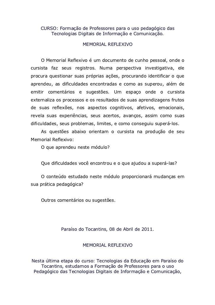 CURSO: Formação de Professores para o uso pedagógico das       Tecnologias Digitais de Informação e Comunicação.          ...