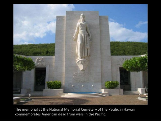 The memorial at the National Memorial Cemetery of the Pacific in Hawaii commemorates American dead from wars in the Pacifi...
