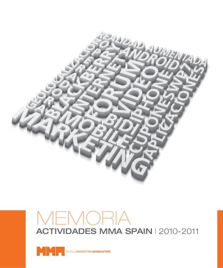 MEMORIA   2010-2011ACTIVIDADES MMA SPAIN