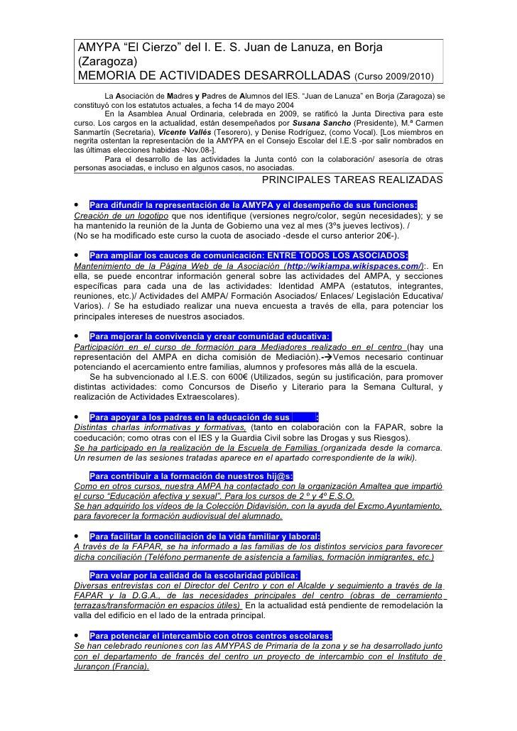 """AMYPA """"El Cierzo"""" del I. E. S. Juan de Lanuza, en Borja  (Zaragoza)  MEMORIA DE ACTIVIDADES DESARROLLADAS (Curso 2009/2010..."""