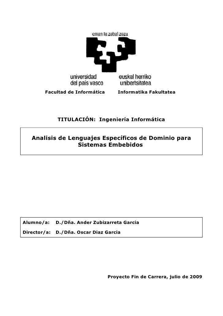 Facultad de Informática       Informatika Fakultatea              TITULACIÓN: Ingeniería Informática   Analisis de Lenguaj...