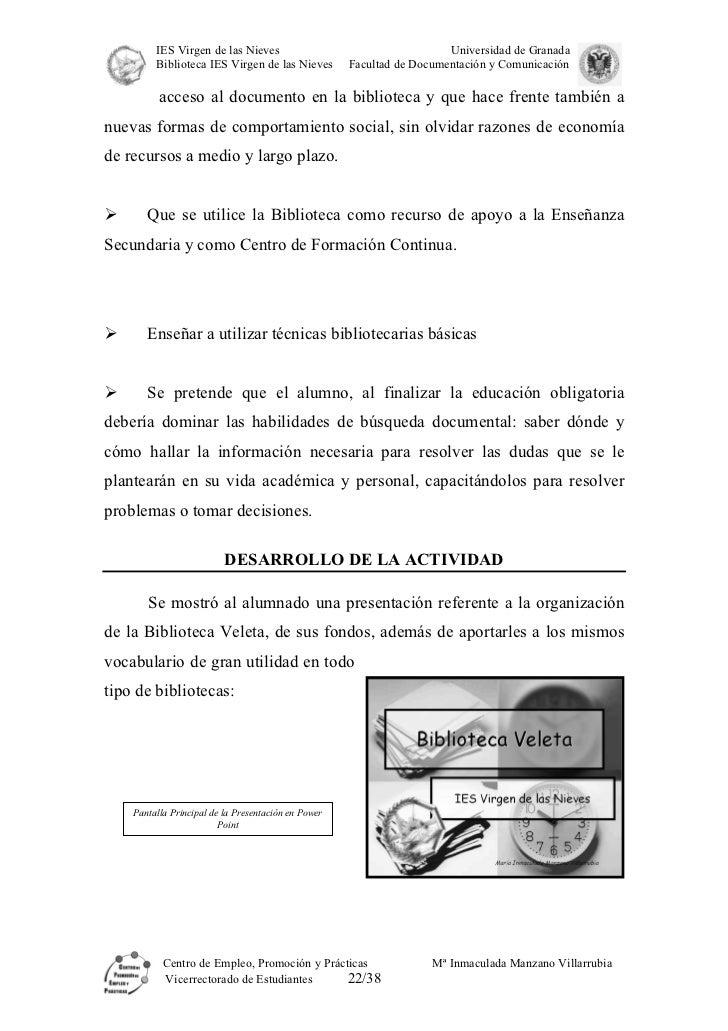 Memoria Biblioteca Escolar Virgen de las Nieves (Granada) - photo#8