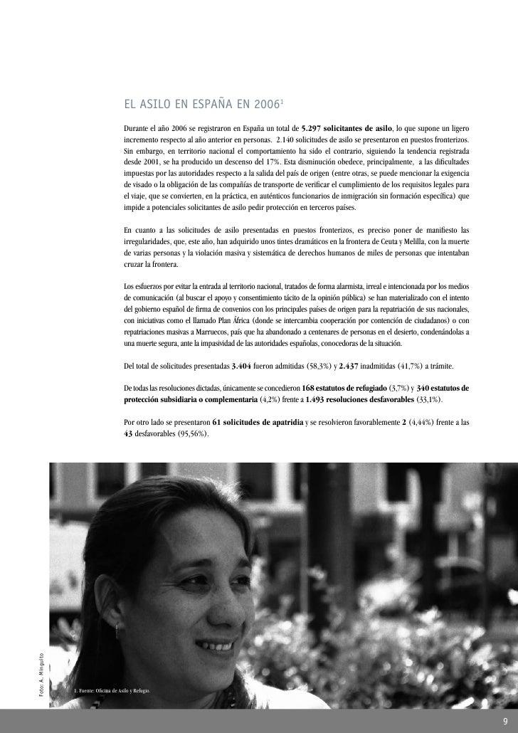 EL ASILO EN ESPAÑA EN 20061                                             Durante el año 2006 se registraron en España un to...