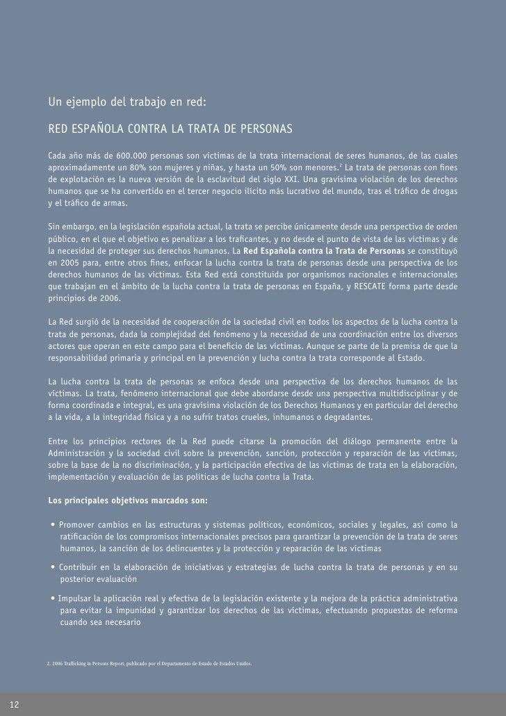 Un ejemplo del trabajo en red:       RED ESPAÑOLA CONTRA LA TRATA DE PERSONAS       Cada año más de 600.000 personas son v...