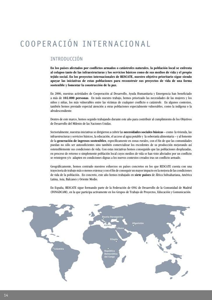 COOPERACIÓN INTERNACIONAL           INTRODUCCIÓN           En los países afectados por conflictos armados o catástrofes nat...