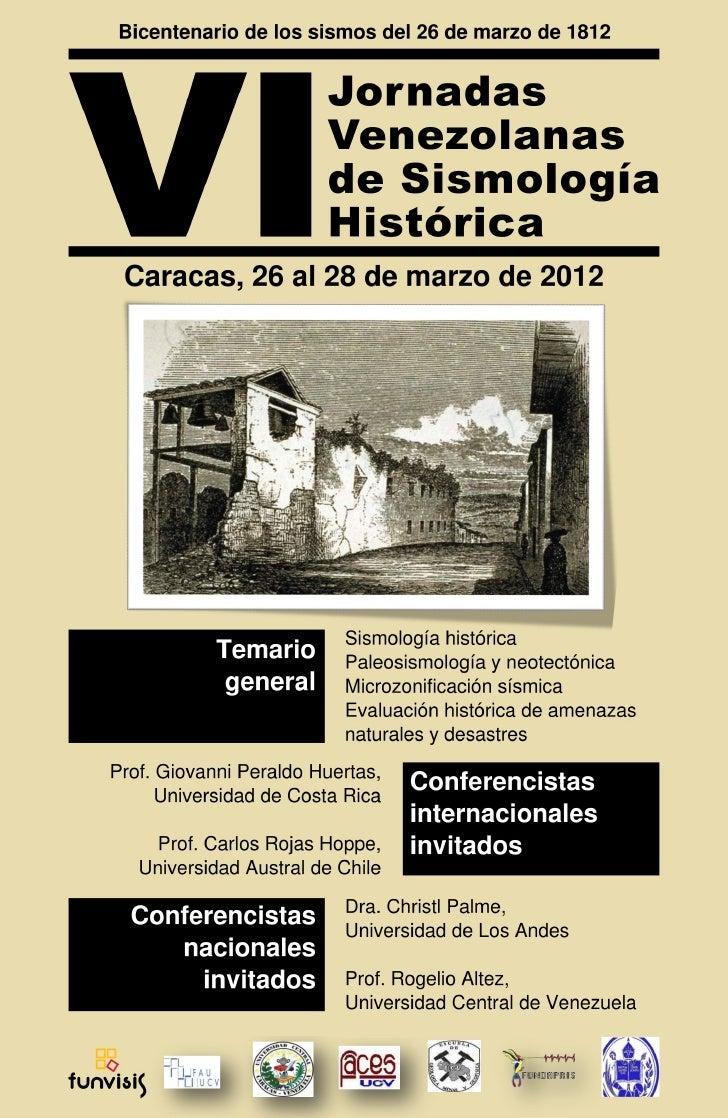 VI JORNADAS VENEZOLANAS DE SISMOLOGÍA HISTÓRICA   1