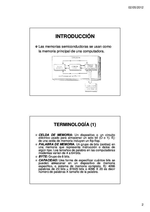 02/05/2012            INTRODUCCIÓNLas memorias semiconductoras se usan comola memoria principal de una computadora.       ...