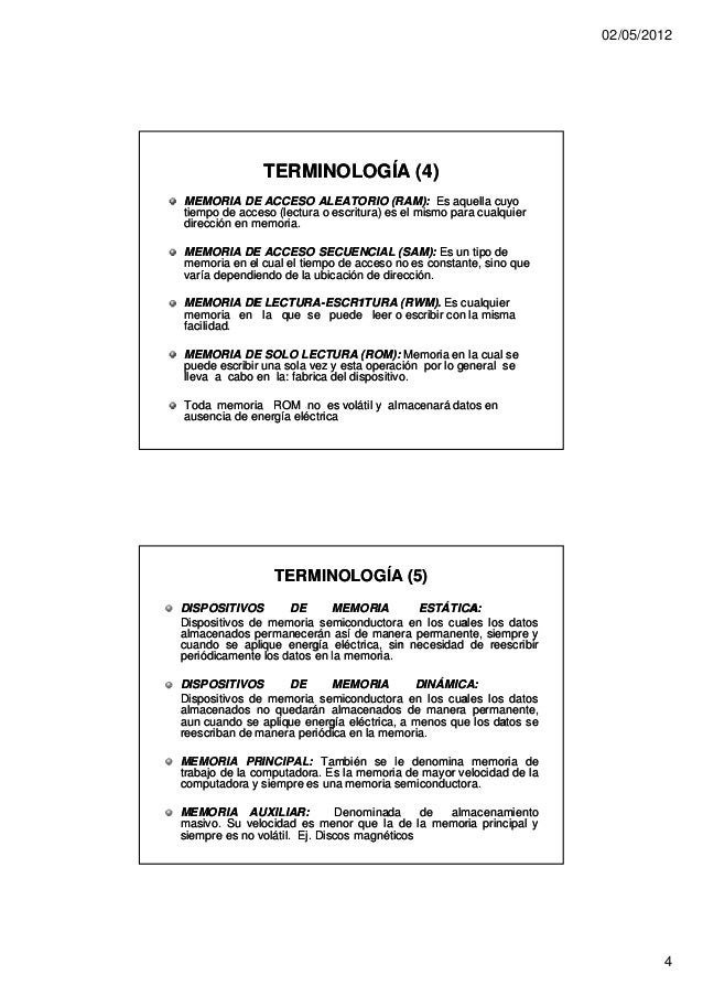02/05/2012               TERMINOLOGÍA (4)MEMORIA DE ACCESO ALEATORIO (RAM): Es aquella cuyotiempo de acceso (lectura o esc...
