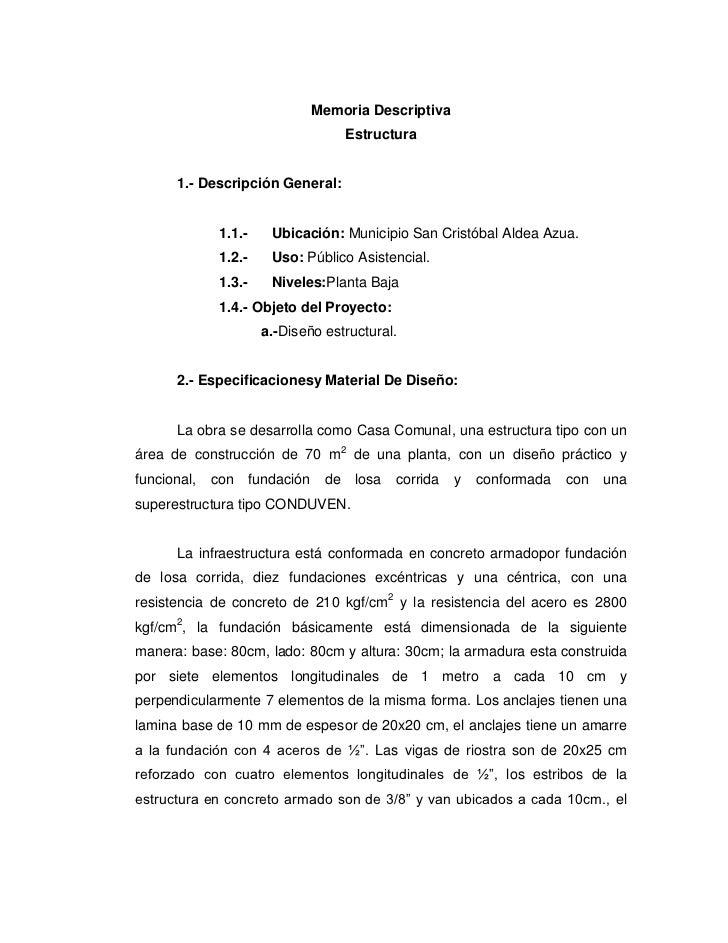 Memoria Descriptiva                                        Estructura      1.- Descripción General:              1.1.-    ...