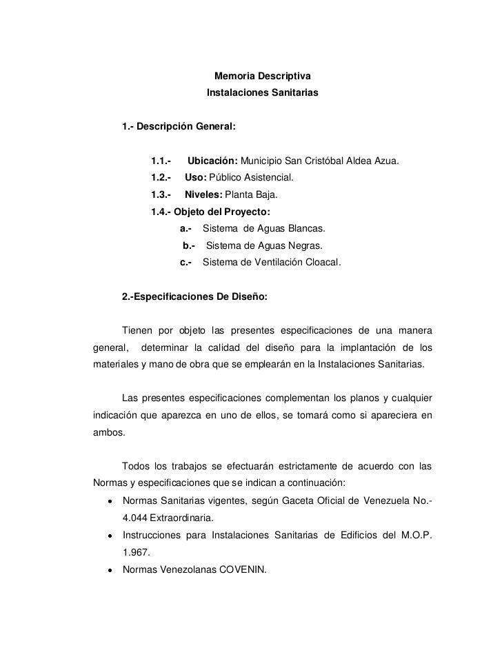 Memoria Descriptiva                             Instalaciones Sanitarias      1.- Descripción General:               1.1.-...