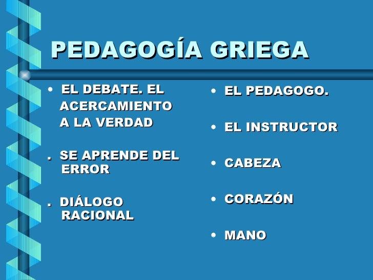 PEDAGOGÍA GRIEGA <ul><li>EL DEBATE. EL </li></ul><ul><li>ACERCAMIENTO  </li></ul><ul><li>A LA VERDAD </li></ul><ul><li>.  ...