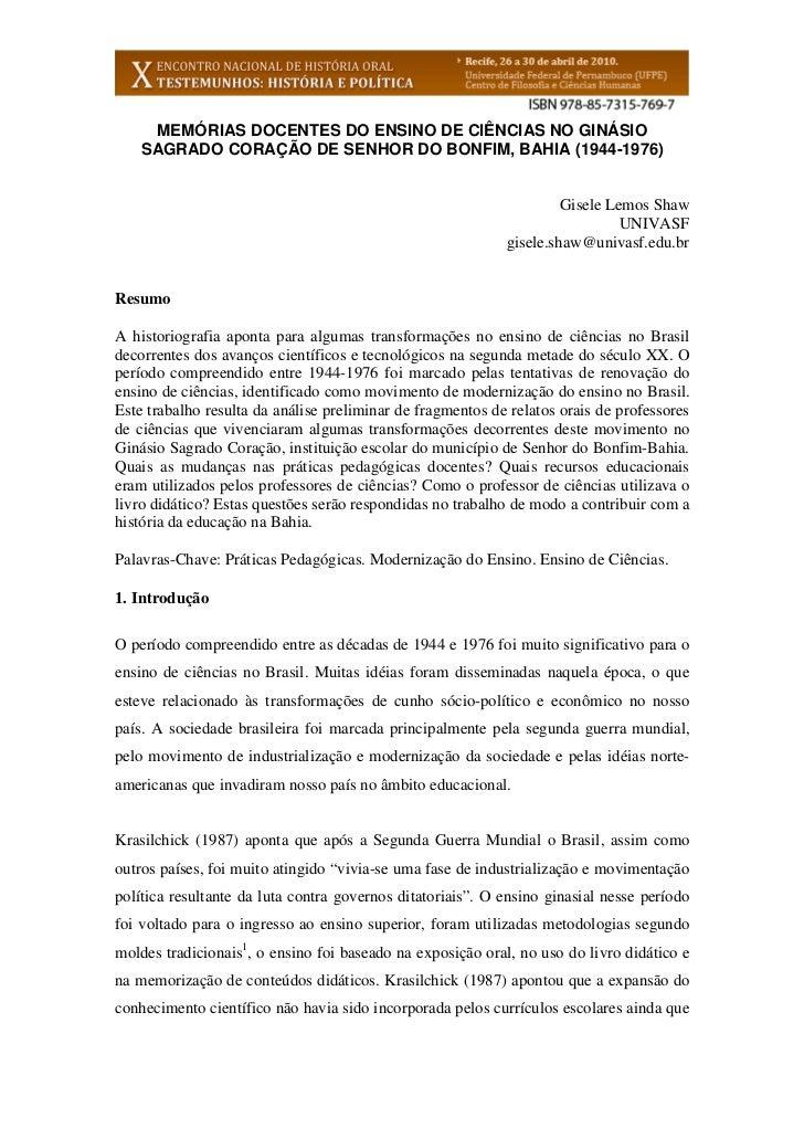 MEMÓRIAS DOCENTES DO ENSINO DE CIÊNCIAS NO GINÁSIO    SAGRADO CORAÇÃO DE SENHOR DO BONFIM, BAHIA (1944-1976)              ...