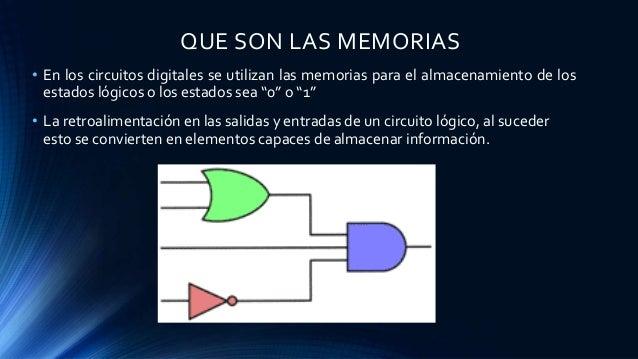QUE SON LAS MEMORIAS • En los circuitos digitales se utilizan las memorias para el almacenamiento de los estados lógicos o...