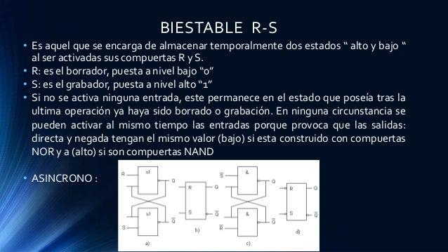 """BIESTABLE R-S • Es aquel que se encarga de almacenar temporalmente dos estados """" alto y bajo """" al ser activadas sus compue..."""