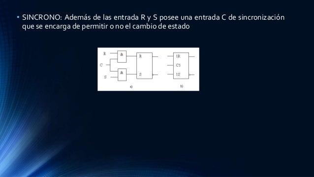 • SINCRONO: Además de las entrada R y S posee una entrada C de sincronización que se encarga de permitir o no el cambio de...