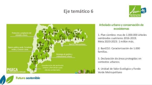 Eje temático 6 Arbolado urbano y conservación de ecosistemas 1. Plan siembra: mas de 1.000.000 árboles sembrados cuatrieni...