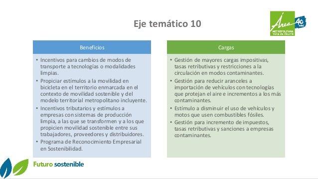 Eje temático 10 Beneficios • Incentivos para cambios de modos de transporte a tecnologías o modalidades limpias. • Propici...