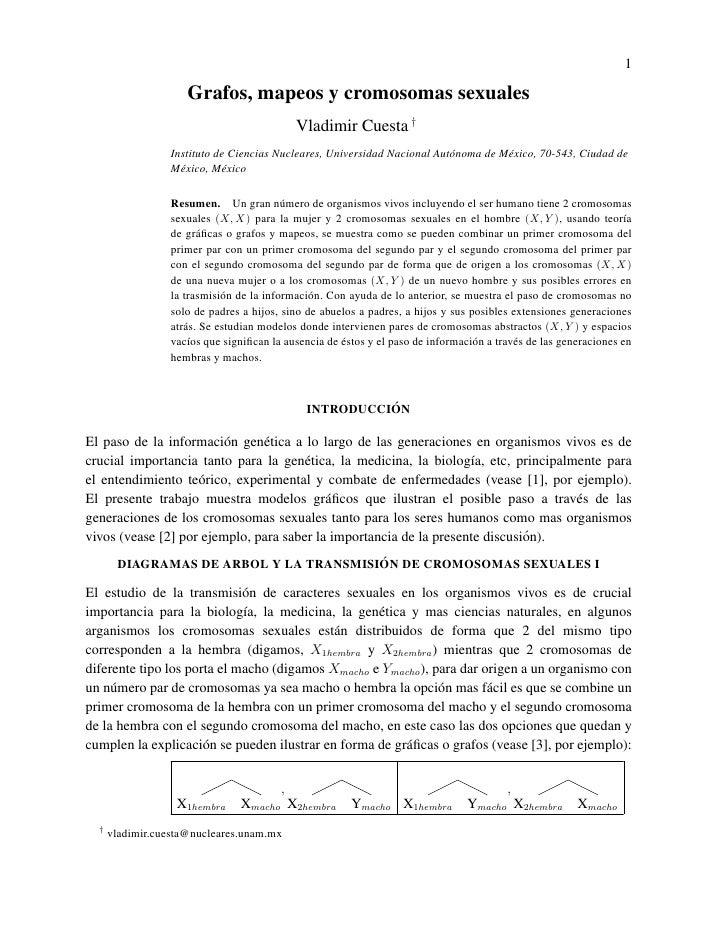 1                       Grafos, mapeos y cromosomas sexuales                                             Vladimir Cuesta †...