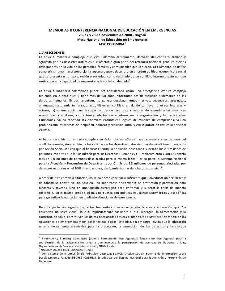 MEMORIAS II CONFERENCIA NACIONAL DE EDUCACIÓN EN EMERGENCIAS                             26, 27 y 28 de noviembre de 2008 ...
